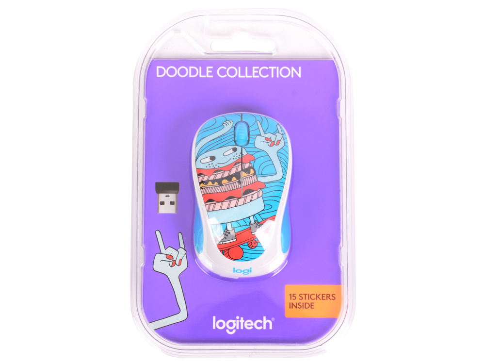 цены Мышь (910-005052) Logitech Wireless Mouse M238 Doodle Collection SKATEBURGER