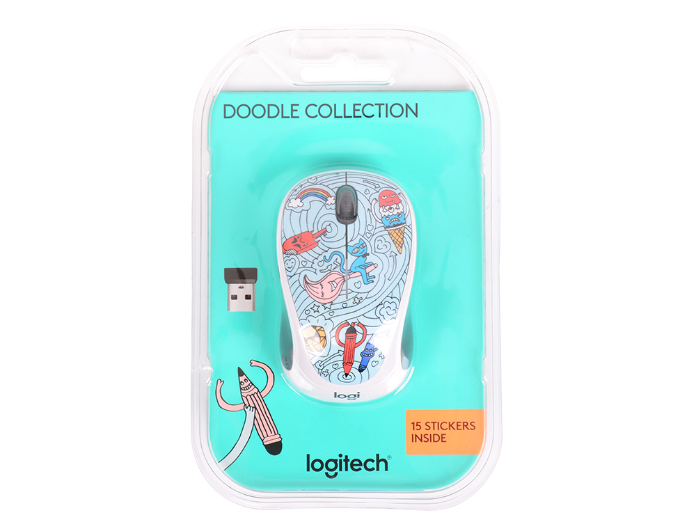 Мышь (910-005055) Logitech Wireless Mouse M238 Doodle Collection BAE-BEE BLUE цены
