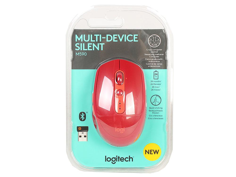 Мышь беспроводная Logitech M590 Silent Red BT + USB оптическая, 1000 dpi, 6 кнопок + колесо мышь беспроводная hp 200 silk золотистый чёрный usb 2hu83aa