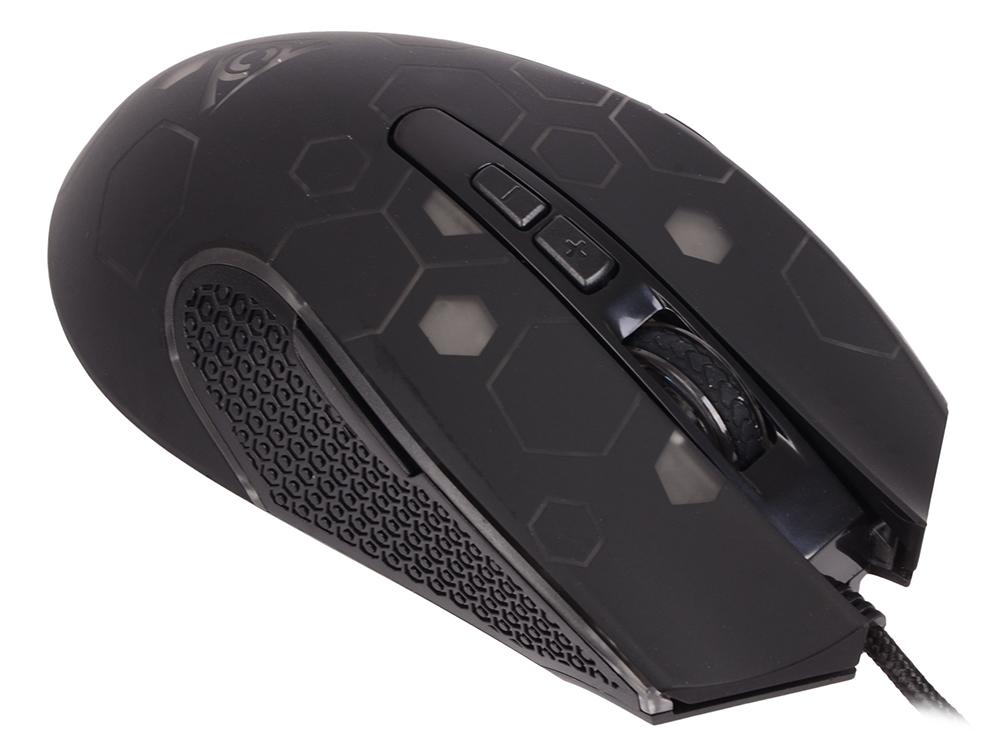 цена на Мышь QCYBER TERMIT Black USB проводная, лазерная, 2400 dpi, 7 кнопок + колесо
