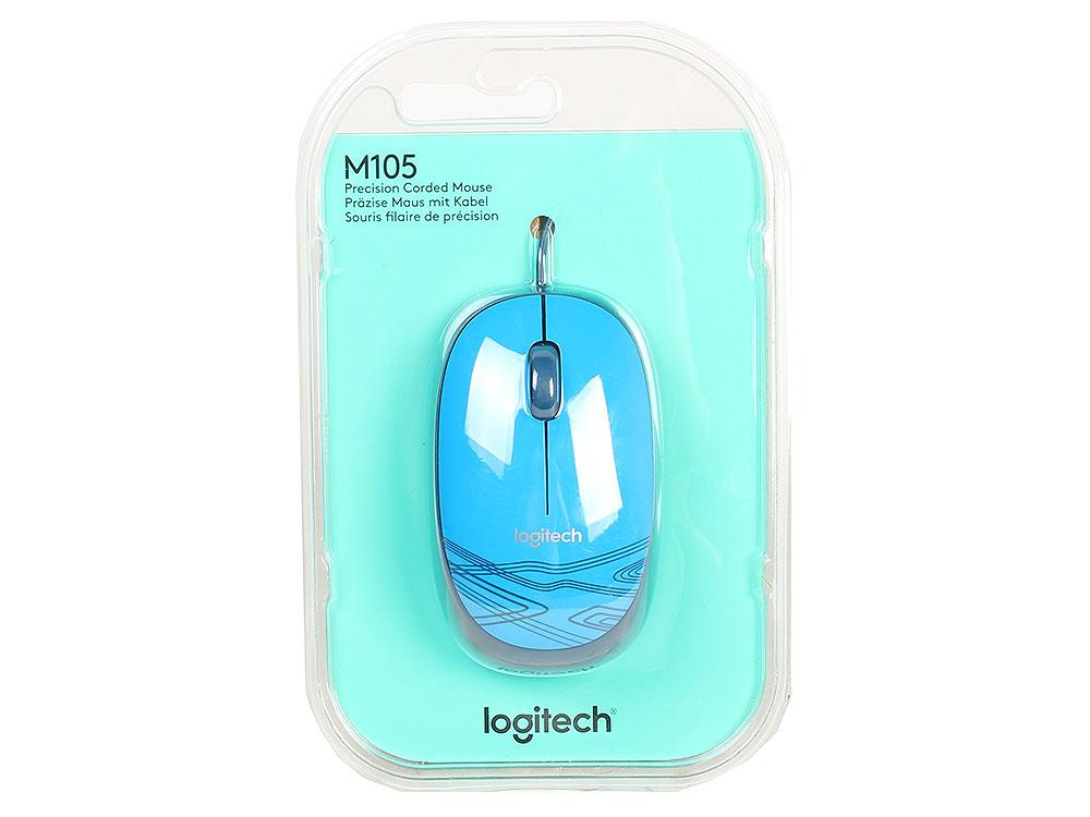 Мышь Logitech Mouse M105 Blue USB проводная, оптическая, 1000 dpi, 3 кнопки + колесо мышь logitech mouse m105 910 002945