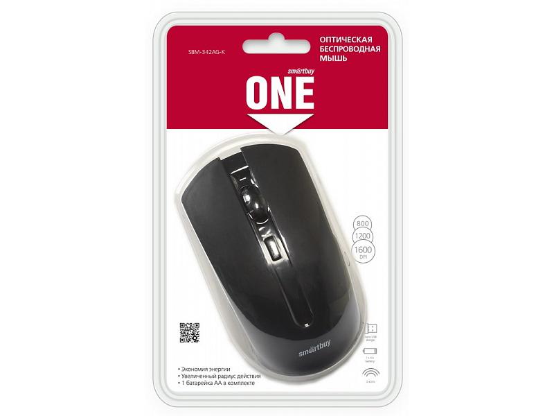 Мышь беспроводная Smartbuy ONE 342AG black USB оптическая, 1600 dpi, 3 кнопки + колесо цена