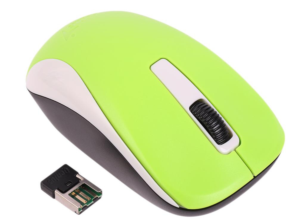 Мышь беспроводная Genius NX-7005 Green USB оптическая, 1200 dpi, 2 кнопки + колесо мышь беспроводная hp z3700 v0l80aa abb white usb оптическая 1200 dpi 3 кнопки колесо