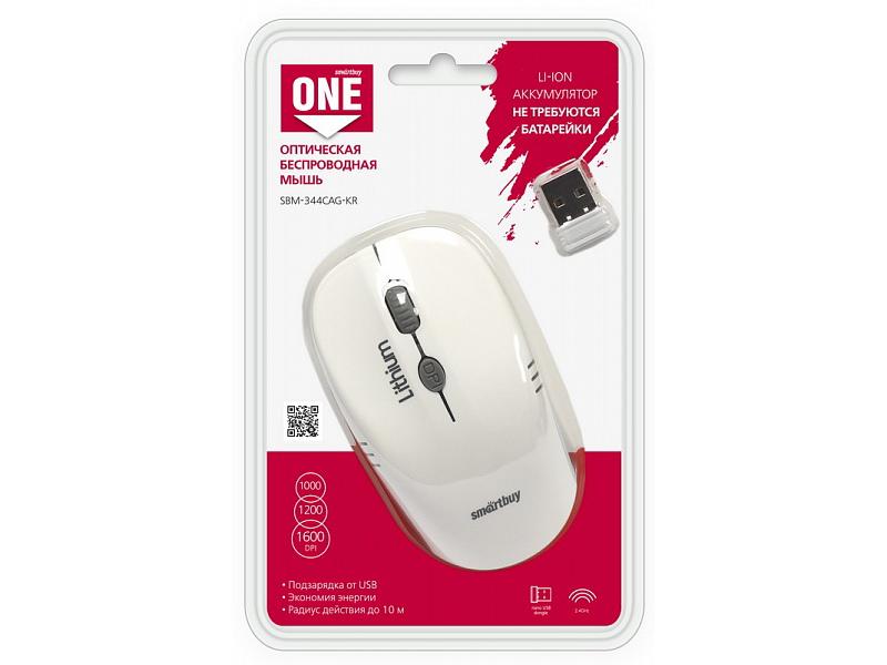 лучшая цена Мышь беспроводная Smartbuy ONE 344CAG White Gray USB оптическая, 1600 dpi, 3 кнопки + колесо