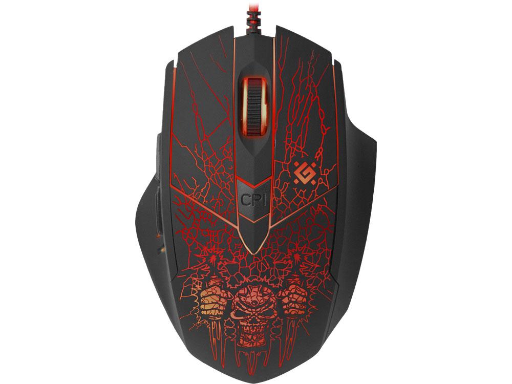 лучшая цена Мышь Defender Doom Fighter GM-260L Black USB Оптическая, 800 - 3200 dpi , 5 кнопок + колесо-кнопка с функцией нажатия