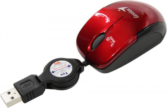 лучшая цена Мышь Genius Micro Traveler V2 Red USB проводная, оптическая, 1200 dpi, 2 кнопки + колесо