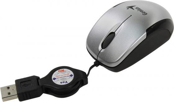 лучшая цена Мышь Genius Micro Traveler V2 Silver USB проводная, оптическая, 1200 dpi, 2 кнопки + колесо