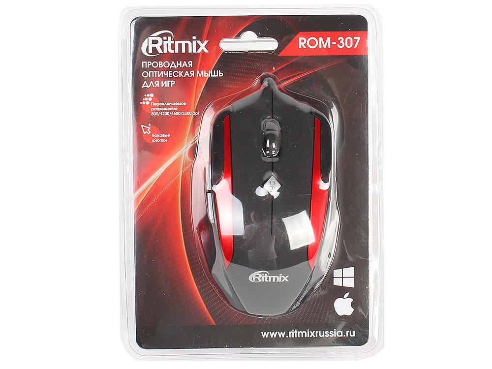 Мышь Ritmix ROM-307 Black\Red USB проводная, оптическая, 2400 dpi, 5 кнопок + колесо цена и фото