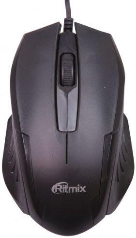 Мышь Ritmix ROM-300 Black USB проводная, оптическая, 800 dpi, 2 кнопки + колесо мышь genius netscroll 120 v2 optical usb black