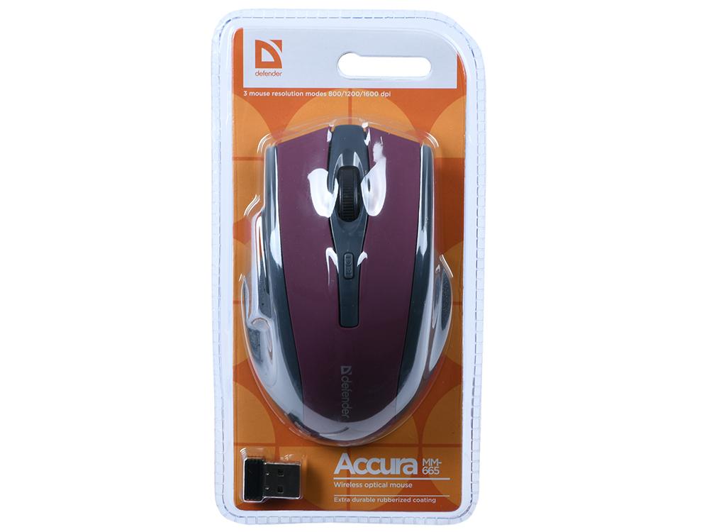 цена на Мышь беспроводная Defender Accura MM-665 Red USB(Radio) оптическая, 1600 dpi, 5 кнопок + колесо