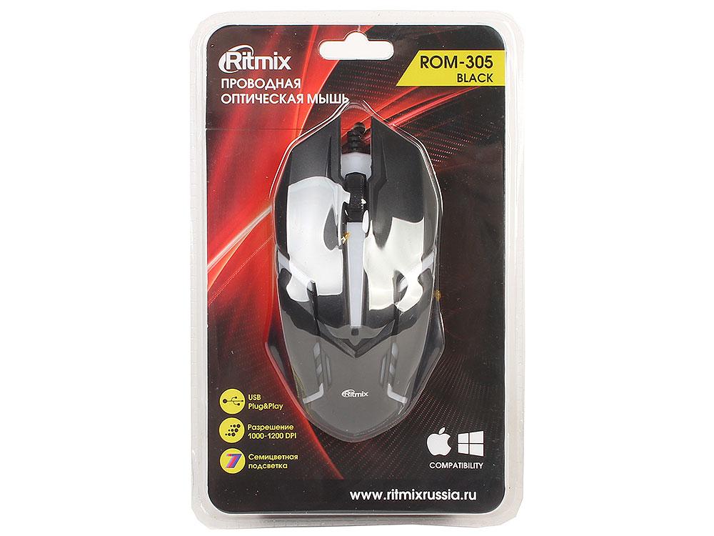 Мышь проводная Ritmix ROM-305 Black USB проводная, оптическая, 1200 dpi, 2 кнопки + колесо мышь проводная ritmix rom 111 black gray 1000dpi 2 кнопки колесо прокрутки черно коричневый usb длина провода 120 см