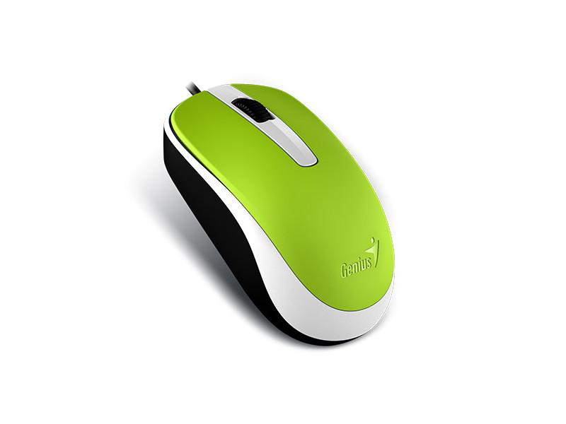 Мышь Genius DX-120 Green Black USB проводная, оптическая, 1000 dpi, 3 кнопки + колесо мышь genius dx 110 white оптическая 1200 dpi 3 кнопки usb