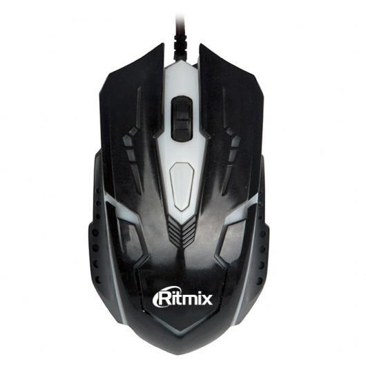 Мышь Ritmix ROM-311 Black USB проводная, оптическая, 2400 dpi, 3 кнопки + колесо мышь проводная ritmix rom 303 чёрный usb