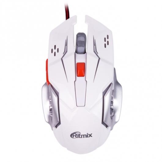 Мышь Ritmix ROM-355 White USB проводная, оптическая, 2400 dpi, 5 кнопок + колесо мышь проводная ritmix rom 111 black gray 1000dpi 2 кнопки колесо прокрутки черно коричневый usb длина провода 120 см