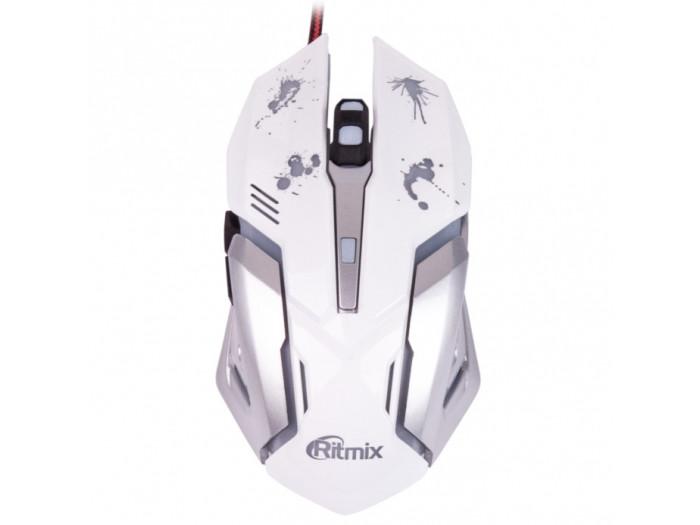 Мышь RITMIX ROM-360 White Игровой дизайн, проводн., USB, 800/1200/1600/2400 dpi, 5 кн.+ колесо, длина кабеля 150 см, длина мыши 135 мм, подарочная упа цена и фото
