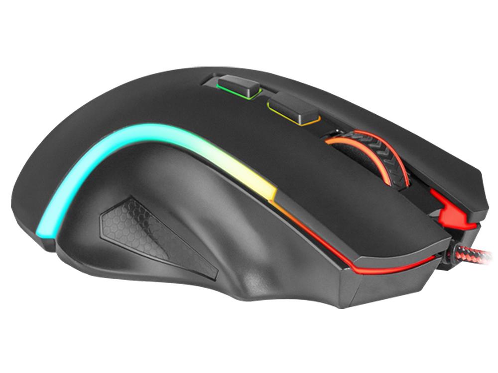Мышь Griffin RGB Redragon Black USB проводная, оптическая, 7200 dpi, 8 кнопок + колесо мышь игровая redragon foxbat лазер 19 кнопок 50 16400 dpi