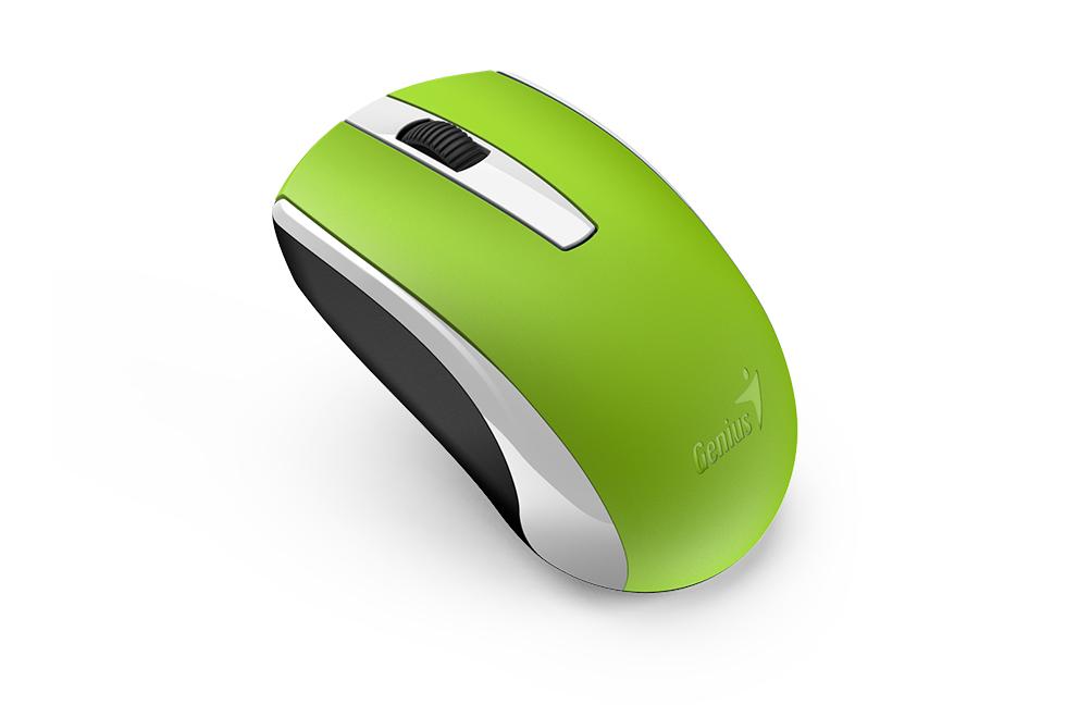 Мышь беспроводная Genius ECO-8100 Green USB оптическая, 1600 dpi, 2 кнопки + колесо графический планшет genius mousepen i608x раб зона 6х8 дюймов стилус беспроводная мышь разрешение 2540lpi скорость 100dps горячих кл 29 usb