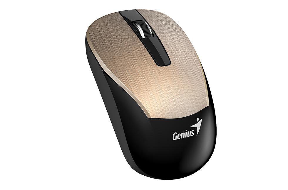 Мышь беспроводная Genius ECO-8015 Gold USB оптическая, 1600 dpi, 2 кнопки + колесо