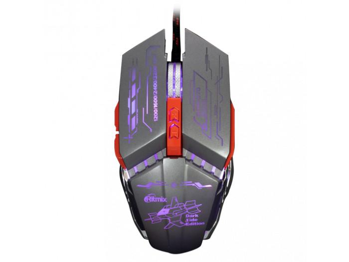 Мышь игровая RITMIX ROM-370 Black, метал. корпус, USB, dpi 3200, 4 цвета Светодиодная подсветка, железн. утяжелители цена и фото