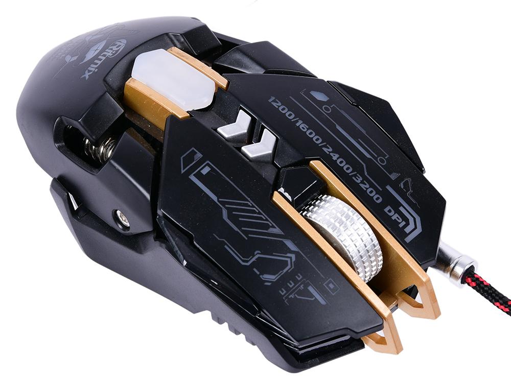 Мышь игровая RITMIX ROM-380SC Black, метал. корпус, USB, dpi 3200, 4 цвета Светодиодная подсветка, железн. утяжелители цена и фото