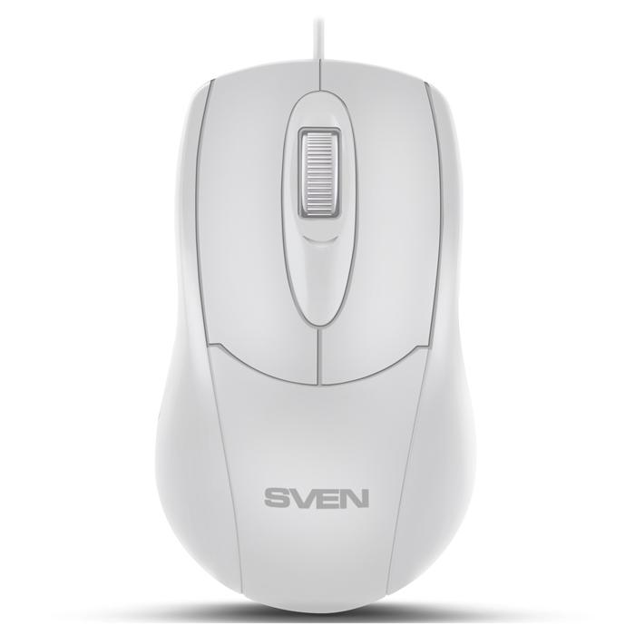 Мышь SVEN RX-110 USB белая (2+1кл. 1000DPI, цвет. картон, каб. 1,5м) цены