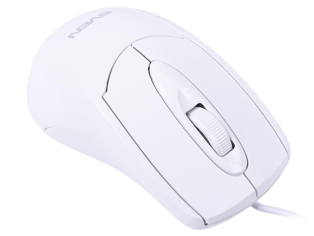 Мышь Sven RX-110 White USB проводная, оптическая, 1000 dpi, 2 кнопки + колесо цена и фото