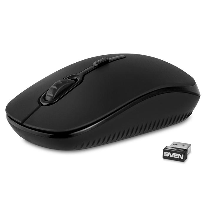 Мышь беспроводная SVEN RX-510SW чёрная (бесшумн. кл.2,4 GHz, 3+1кл. 800-1600DPI, цвет. картон) мышь sven rx 305 black беспроводная