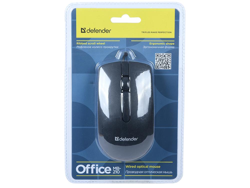 цена на Мышь Defender MB-210 Black USB проводная, оптическая, 800 dpi, 2 кнопки + колесо
