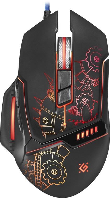 лучшая цена Мышь Defender Kill'em All GM-480L Black USB проводная, оптическая, 3200 dpi, 7 кнопок + колесо