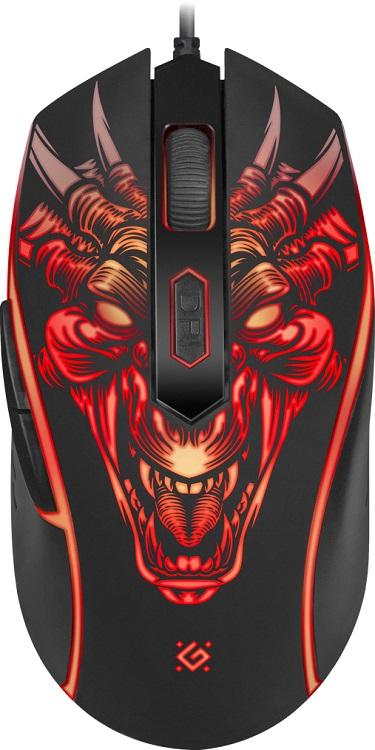 Мышь Defender Monstro GM-510L Black USB проводная, оптическая, 3200 dpi, 5 кнопок + колесо мышь harper gaming gm p20 black usb проводная оптическая 5000 dpi 6 кнопок колесо