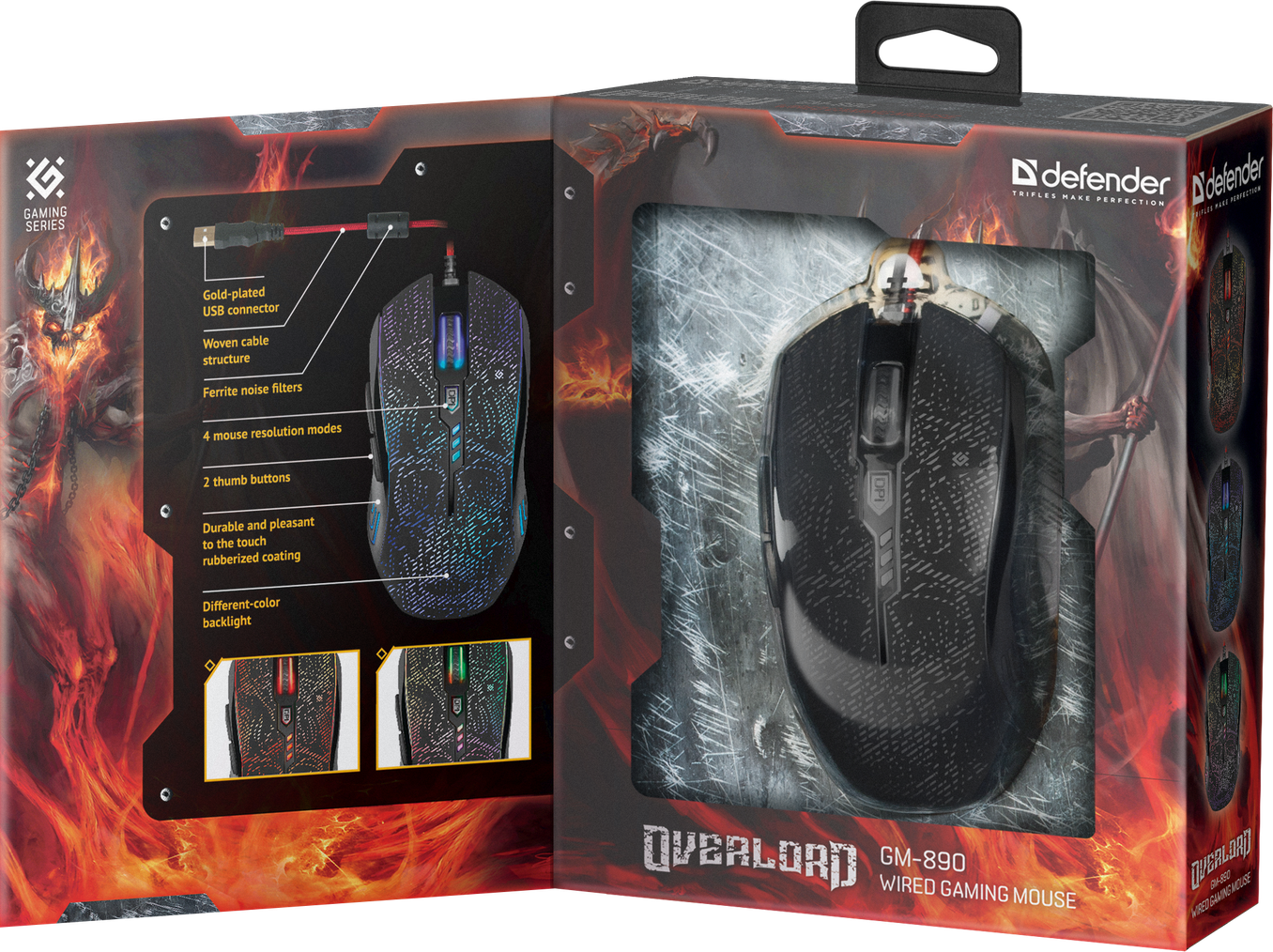 Мышь игоровая оптическая OverLord GM-890 черная, USB, 3200 dpi, DEFENDER 5 кнопки, + колесо прокрутки 3200 dp overlord ранобэ аудиокнига