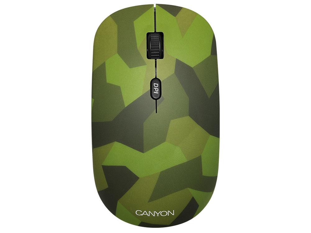 Мышь беспроводная Canyon CND-CMSW400M Military green USB(Radio) оптическая, 800 - 1600 dpi , 3 кнопки + колесо
