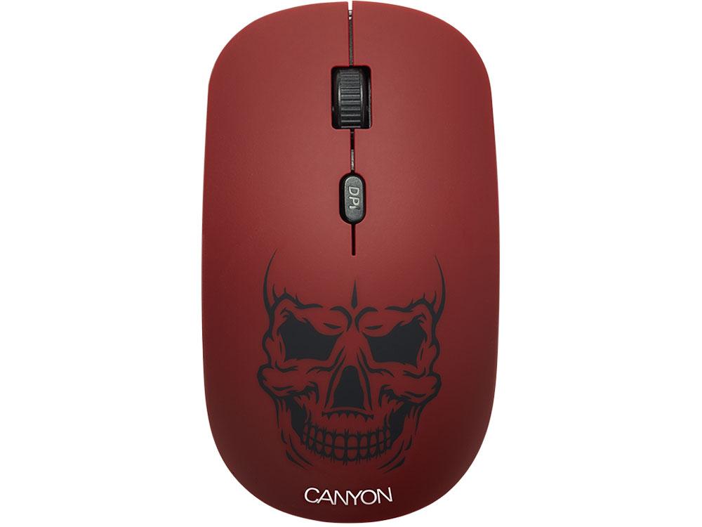 Мышь беспроводная Canyon CND-CMSW401RS со съемной панелью: Череп USB(Radio) оптическая, 800 - 1600 dpi , 3 кнопки + колесо все цены