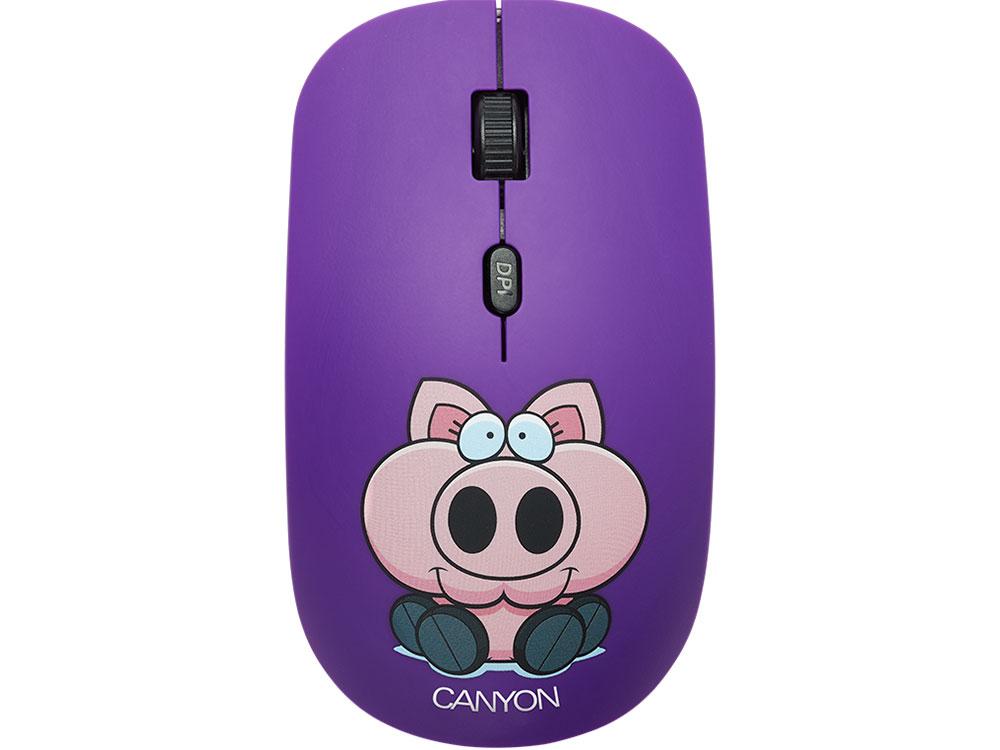 Мышь беспроводная Canyon CND-CMSW401PB Black/Purple USB(Radio) оптическая, 1600 dpi, 3 кнопки + колесо фото