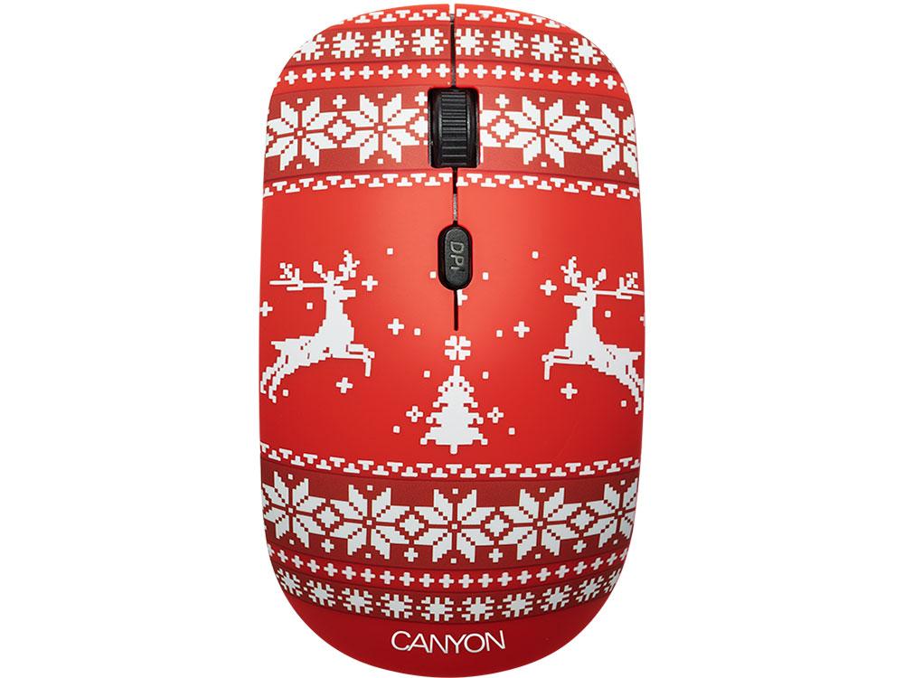 Мышь беспроводная Canyon CND-CMSW401JR со съемной панелью: Новогоднее настроение USB(Radio) оптическая, 800 - 1600 dpi , 3 кнопки + колесо