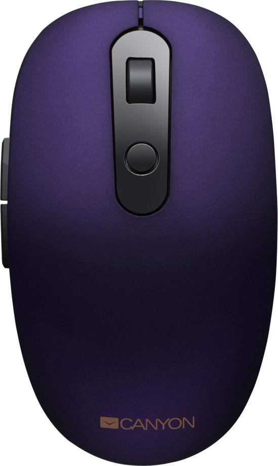 Мышь беспроводная Canyon CNS-CMSW09V Purple BT + USB оптическая, 1600 dpi, 6 кнопок мышь беспроводная hp 200 silk золотистый чёрный usb 2hu83aa