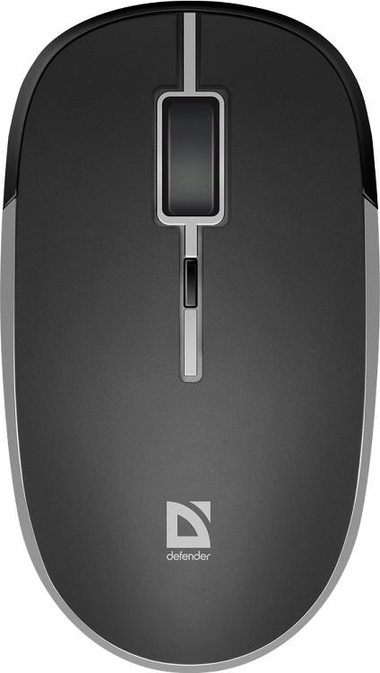 Мышь беспроводная Defender Hit MB-775 Black USB оптическая, 1600 dpi, 3 кнопки + колесо мышь оптическая defender flash mb 600l оптическая три кнопки колесо конпка 1200 dpi