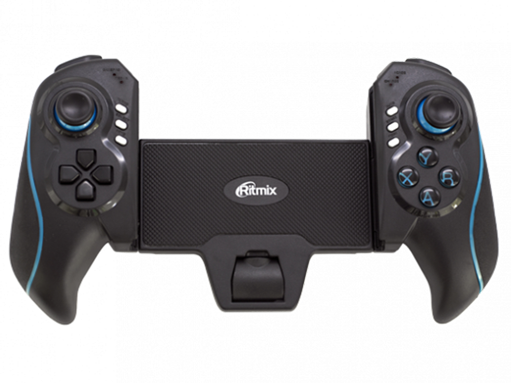 Геймпад для смартфонов/планшетов RITMIX GP-051BTH Black Blue, аккумулятор 350 мАч, совместим с Android/iOS устройствами геймпад ritmix gp 030bth black red