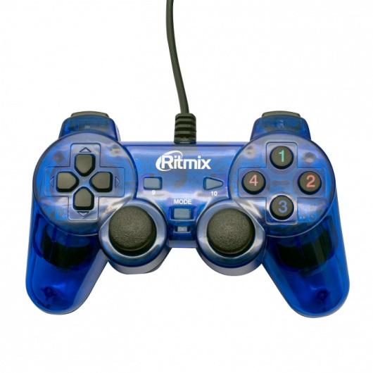 Геймпад Ritmix GP-006 Blue для ПК, USB, 2 вибромотора, 16 кнопок, кабель 1,5м кабель питания tripp lite p036 006 p036 006