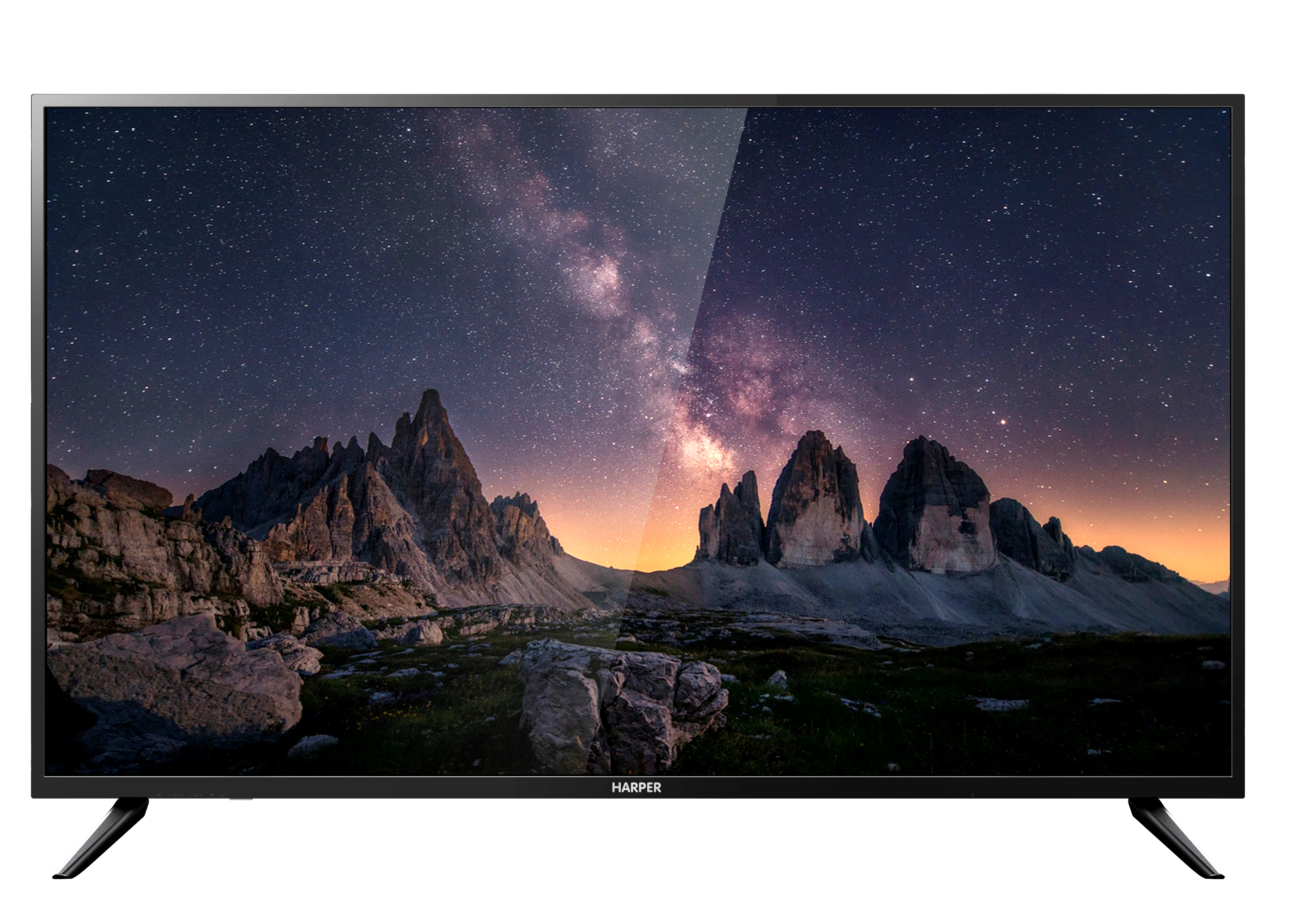 "Телевизор Harper 55U750TS LED 55"" Black, 16:9, 3840x2160, Smart TV, 140000:1, 300 кд/м2, USB, 3xHDMI, AV, Wi-Fi, RJ-45, DVB-T, T2, C, S, S2"