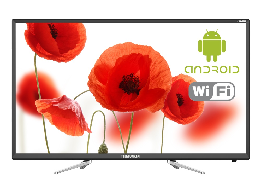 "Телевизор Telefunken TF-LED32S81T2S LED 32"" Black, Smart TV, 16:9, 1366х768, 3 000:1, 280 кд/м2, USB, HDMI, Wi-Fi, RJ-45, DVB-T, T2, C"