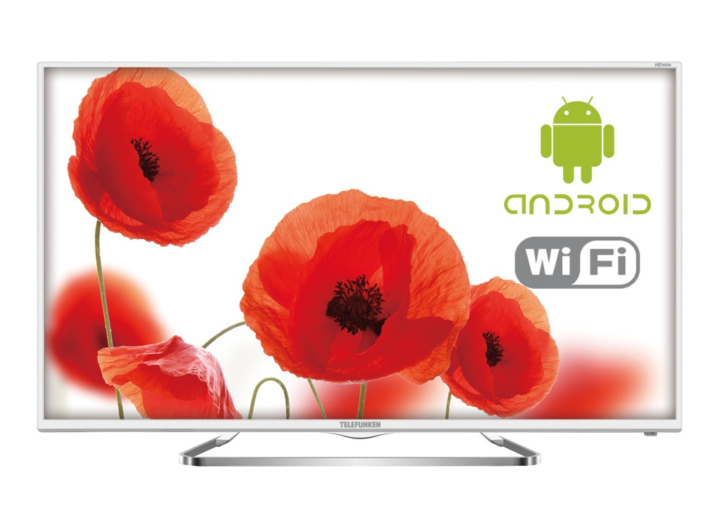 "Телевизор Telefunken TF-LED32S63T2S LED 32"" White, Smart TV, 16:9, 1366х768, 3000:1, 220 кд/м2, USB, HDMI, AV, Wi-Fi, RJ-45, DVB-T, T2, C"