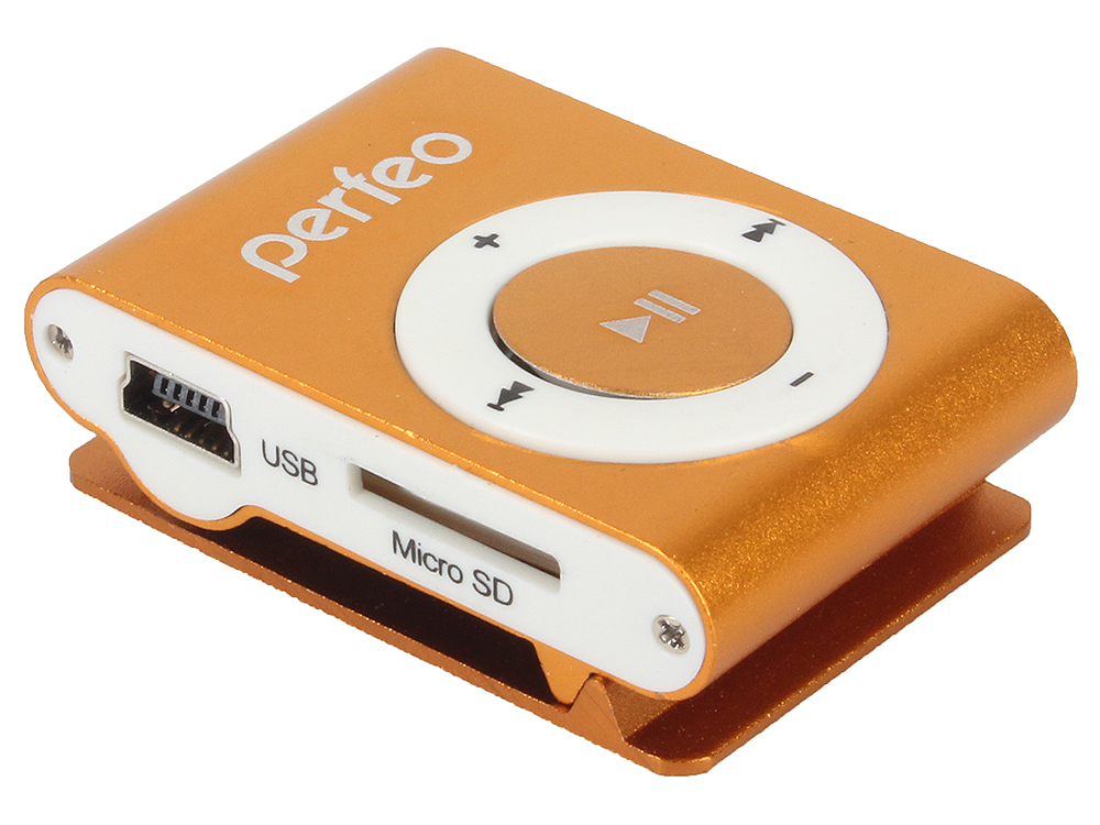 Цифровой аудио плеер Perfeo Music Clip Titanium, оранжевый (VI-M001 Orange) недорого