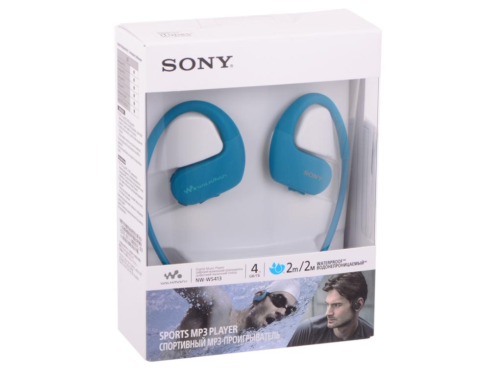 лучшая цена Плеер Sony NW-WS413 Голубой водонепроницаемый спортивный mp3-плеер, 4Гб, до 12 часов работы