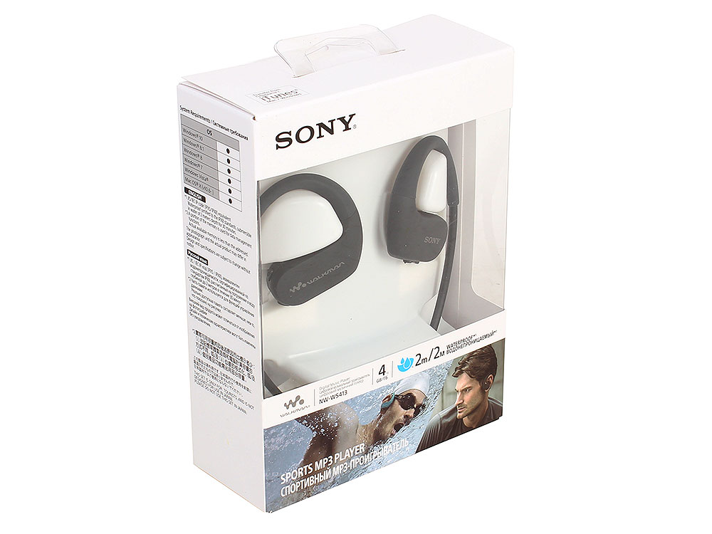 Плеер Sony NW-WS413 Черный водонепроницаемый спортивный mp3-плеер, 4Гб, до 12 часов работы