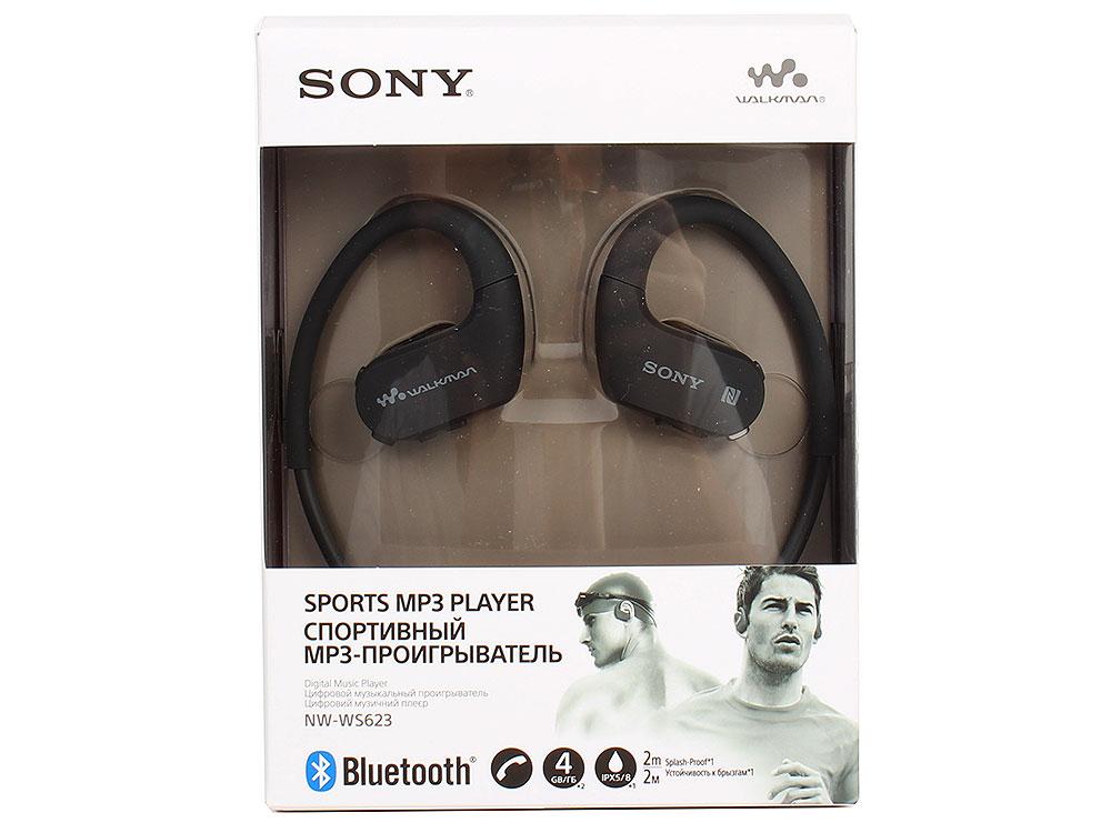 Плеер Sony NW-WS623 Черный водонепроницаемый спортивный mp3-плеер, 4Гб, до 12 часов работы mp3 плеер для компьютера