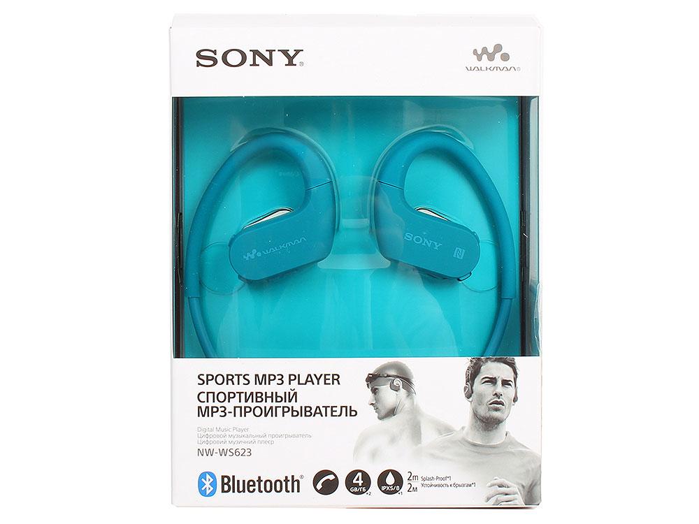 Плеер Sony NW-WS623 Синий, водонепроницаемый спортивный mp3-плеер, 4Гб, до 12 часов работы, работа в солёной и мыльной воде, не боится песка и пыли mp3 плеер для компьютера