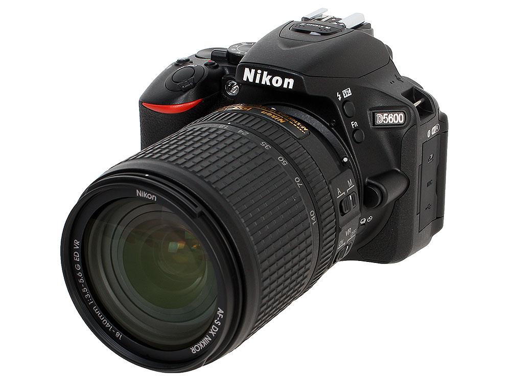 Фотоаппарат Nikon D5600 Black KIT 18-140 AF-S VR 24.1Mp, 3.2 WiFi, GPS цифровой фотоаппарат nikon d 5300 kit dx 18 55 vr af p черный
