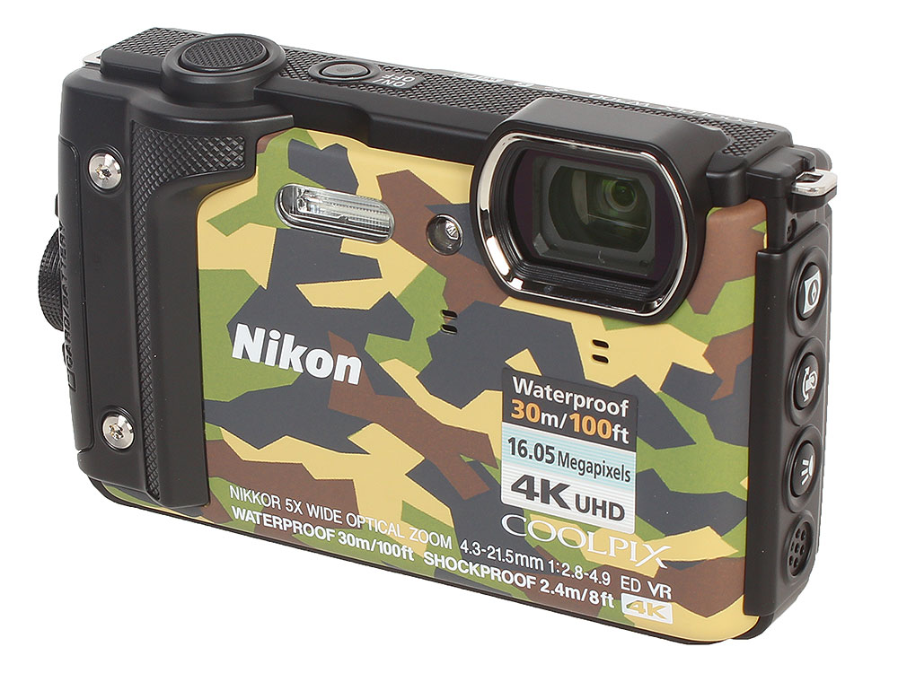"""Фотоаппарат Nikon Coolpix W300 Grey (Camo) 16.0Mp, 5x zoom, 3.0"""", SDXC, Влагозащитная, Ударопрочная (водонепроницаемый 30 метров)"""
