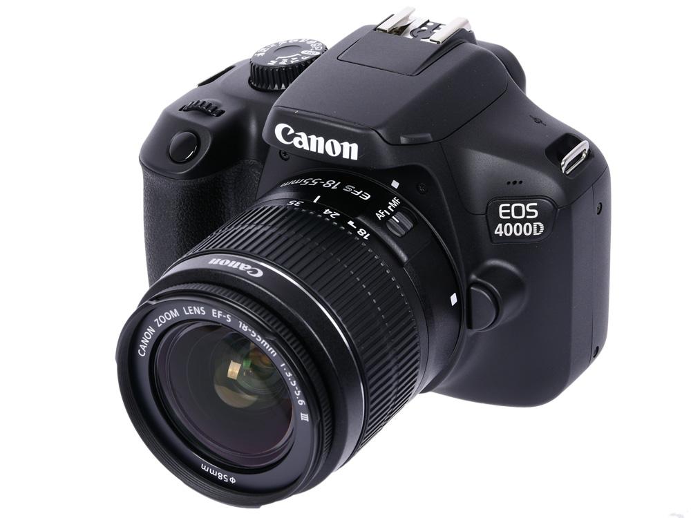"""Зеркальный фотоаппарат Canon EOS 4000D Kit Black 18-55 DC III (3011C003) Black 18.7 Mp, 22.3 х 14.9 мм / max 5184x3456 / экран 2.7"""" / 0,436 г"""